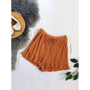 🌿 Burnt Orange High Waisted Ribbed Knit Shorts 🌿